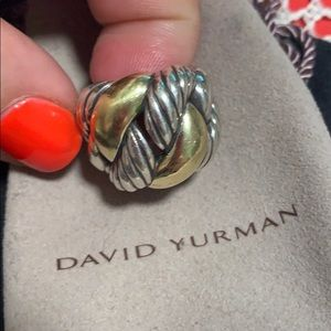 David Yurman 925 18k Gold Knotted Ring Size 5